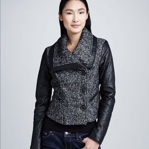 BCBGMaxAzria Contrast-Sleeve Tweed Leather Jacket